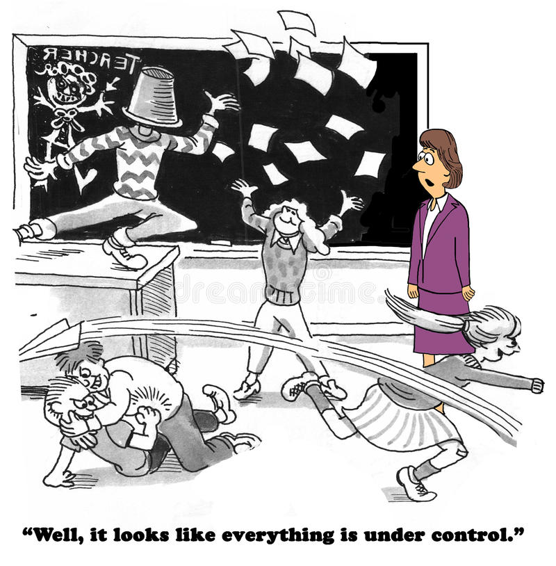 Not Under Control. Education cartoon about children misbehaving in school. The class is not under control royalty free illustration