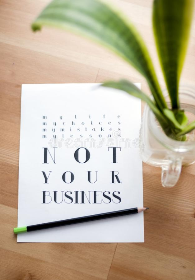 Not Your Business Print Poster royalty free stock photos