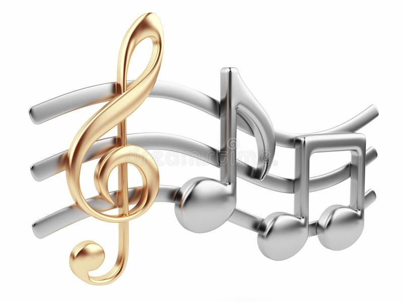 Nota 3D da música. Composição de música. Isolado ilustração royalty free