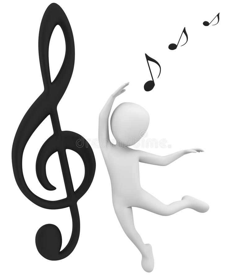 nota 3d y danza. stock de ilustración