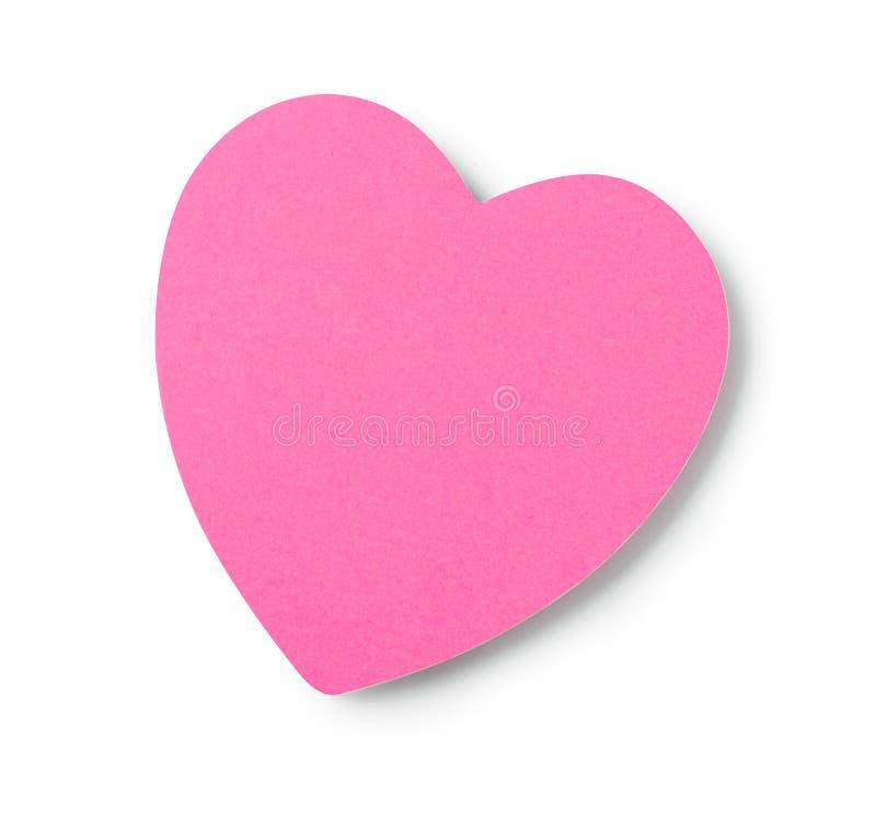 Nota adesiva a forma di del cuore fotografia stock libera da diritti