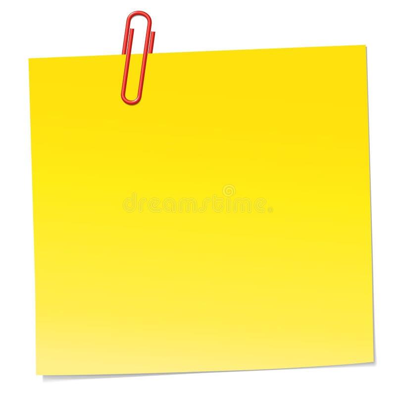 Nota amarela com o grampo de papel vermelho fotografia de stock royalty free
