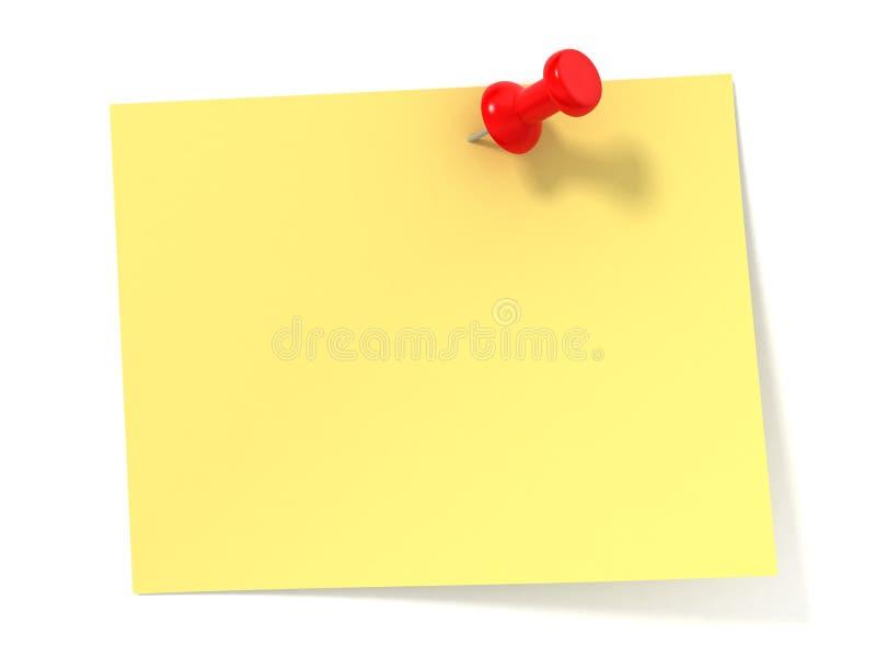 Nota amarilla stock de ilustración