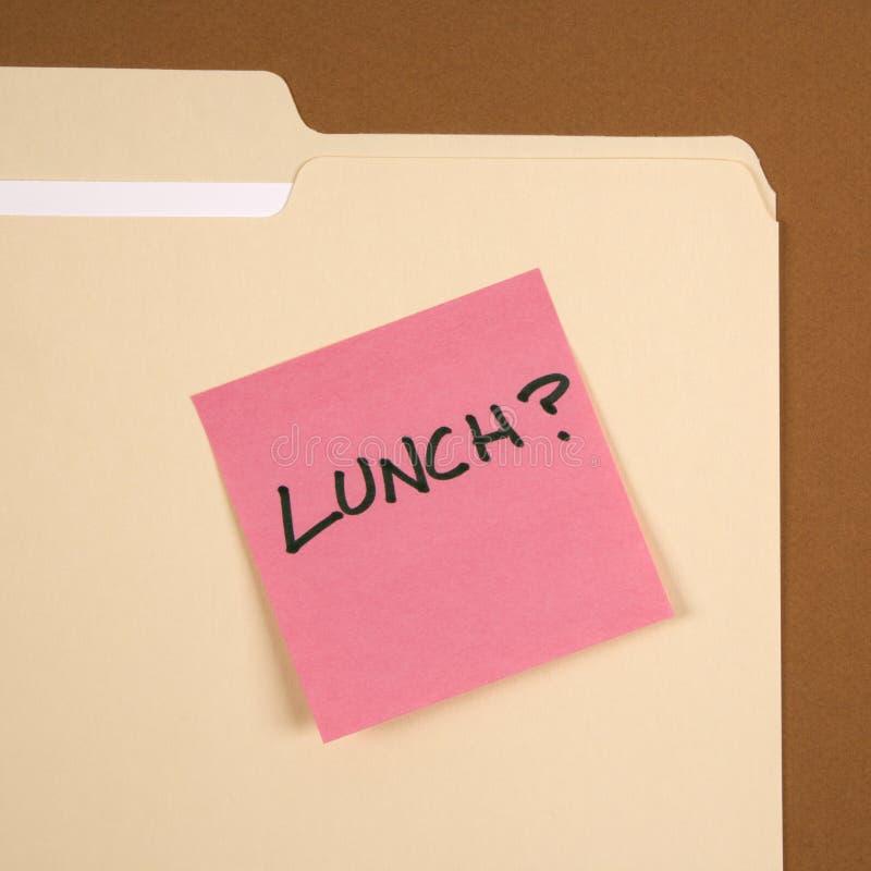 Nota appiccicosa del pranzo. immagini stock