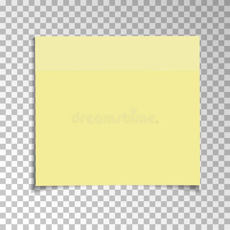 Nota appiccicosa di carta gialla dell'ufficio isolata su fondo trasparente Modello per i vostri progetti Illustrazione di vettore illustrazione di stock