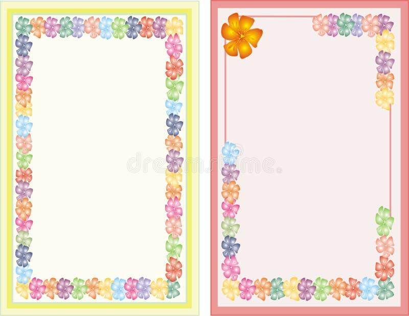 Nota in bianco due con i lotti dei fiori fotografia stock libera da diritti