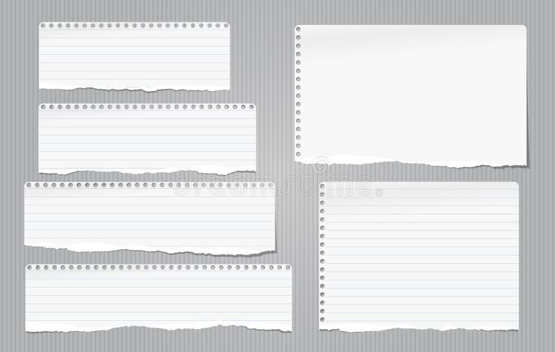 A nota branca, tiras de papel rasgadas caderno com bordas rasgadas colou no backgroud alinhado cinza Ilustração do vetor ilustração stock