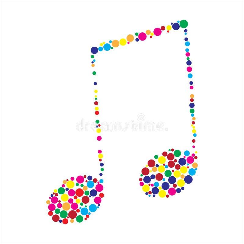 Nota colorida pontilhada da música ilustração stock