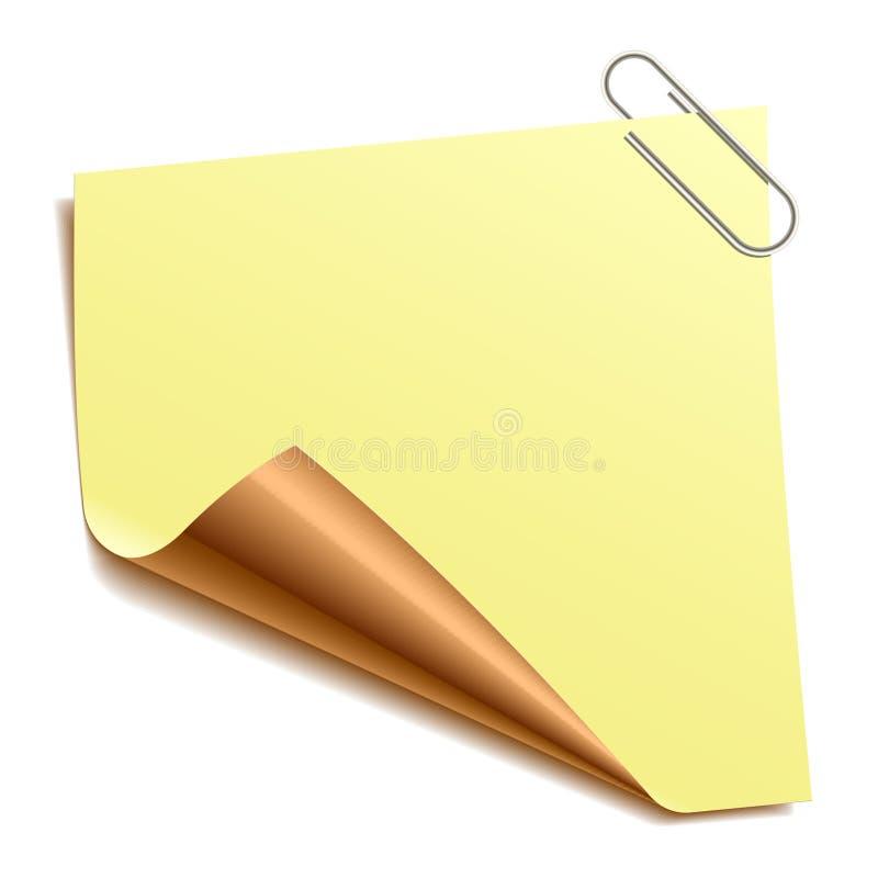 Nota con il paper-clip. Vettore. royalty illustrazione gratis