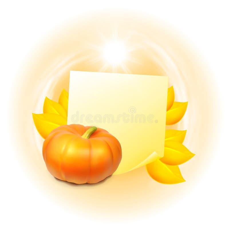 Nota con las hojas y la calabaza de otoño stock de ilustración