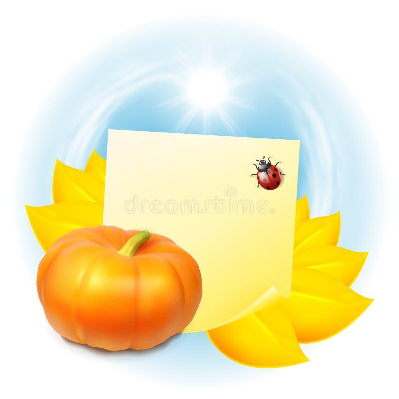 Nota con las hojas y la calabaza de otoño libre illustration