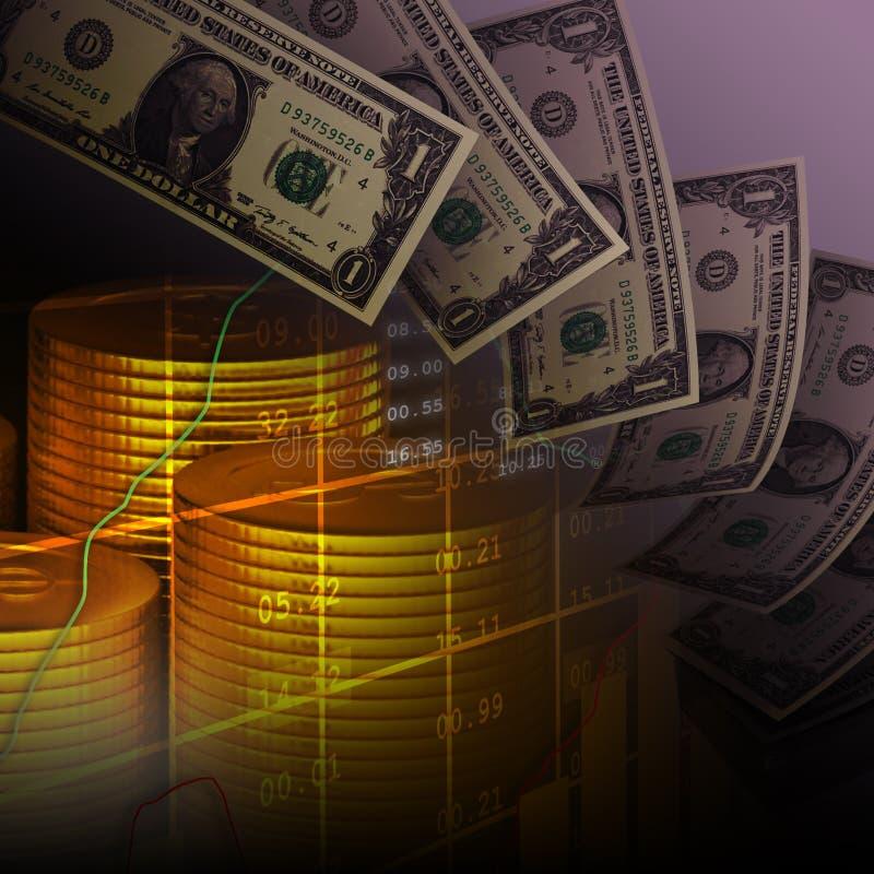 Nota con le monete, fondo finanziario del dollaro illustrazione vettoriale