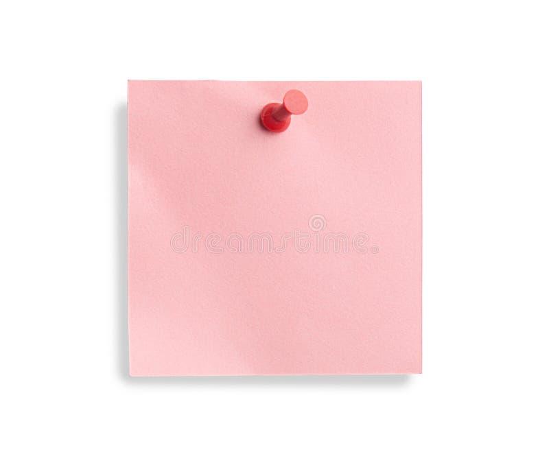 Nota cor-de-rosa com pino vermelho imagem de stock royalty free
