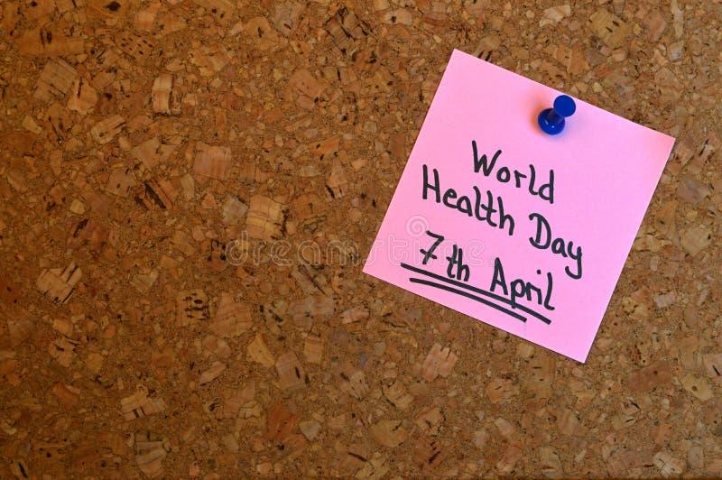 Nota: Día de salud de mundo imagen de archivo