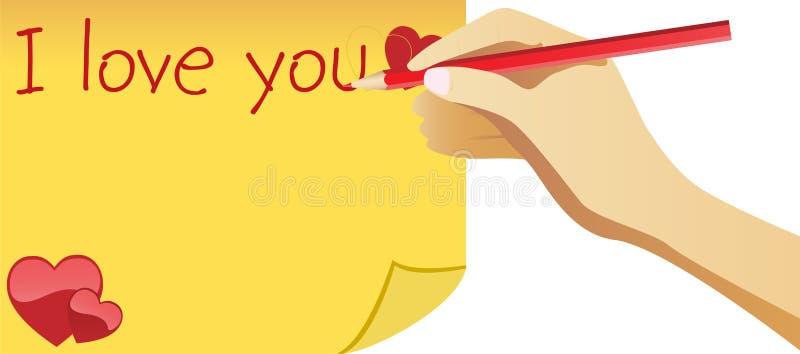 Nota da escrita da mão eu te amo para ilustração do vetor