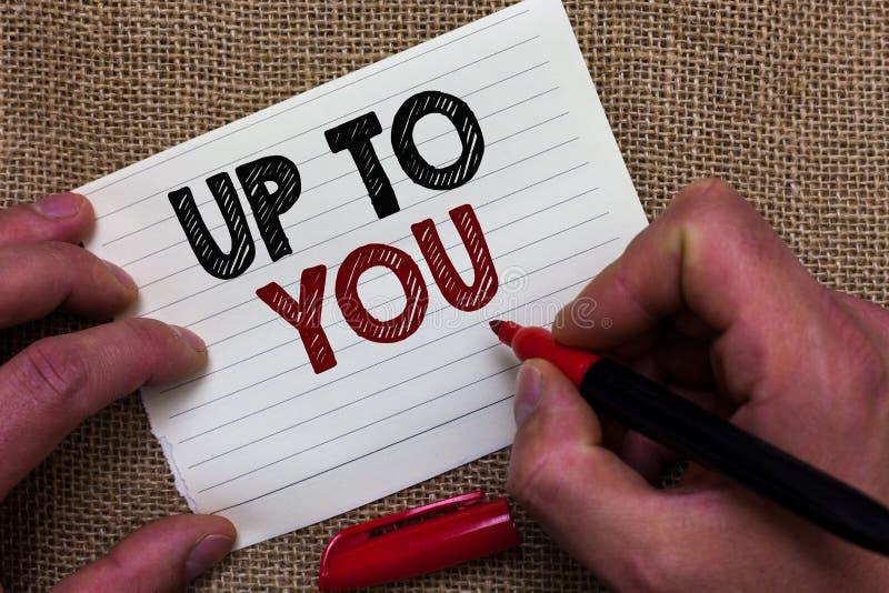 Nota da escrita que aparece a você Foto do negócio que apresenta a pessoa de A que dá a liberdade para escolher ou decidir em alg fotografia de stock royalty free