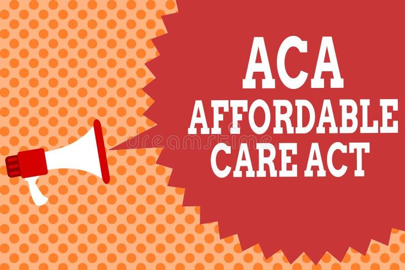 Nota da escrita que mostra a ACA o ato disponível do cuidado Foto do negócio que apresenta fornecendo o tratamento barato ao paci imagem de stock