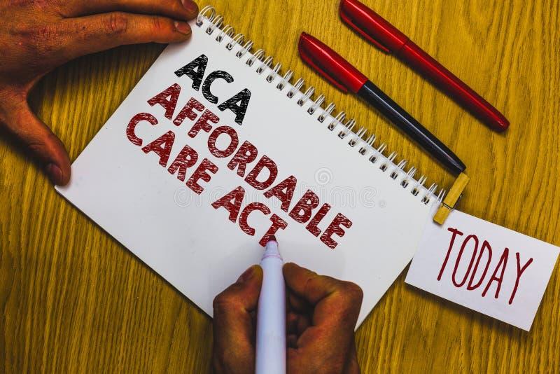 Nota da escrita que mostra a ACA o ato disponível do cuidado Foto do negócio que apresenta fornecendo o tratamento barato ao paci fotos de stock royalty free