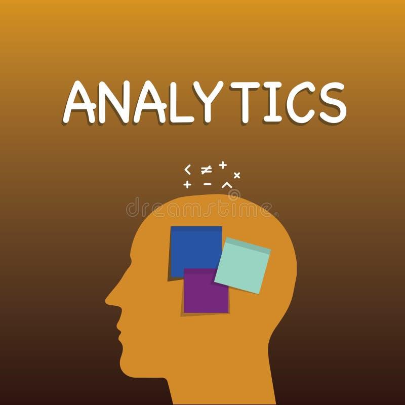 Nota da escrita que mostra a analítica Foto do negócio que apresenta a análise computacional sistemática de estatísticas dos dado ilustração stock