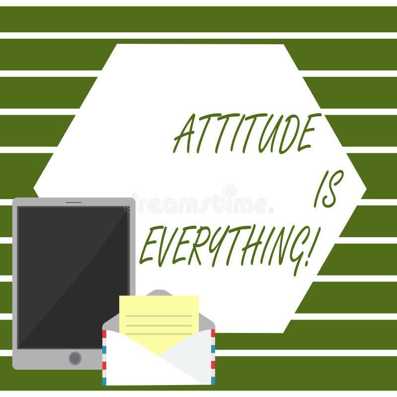 A nota da escrita que mostra a atitude é tudo Foto do negócio que apresenta o comportamento pessoal da orientação da perspectiva  ilustração stock