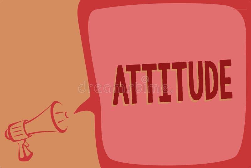 Nota da escrita que mostra a atitude Foto do negócio que apresenta o modo de pensar estabelecido ou que sente sobre algo a person ilustração stock