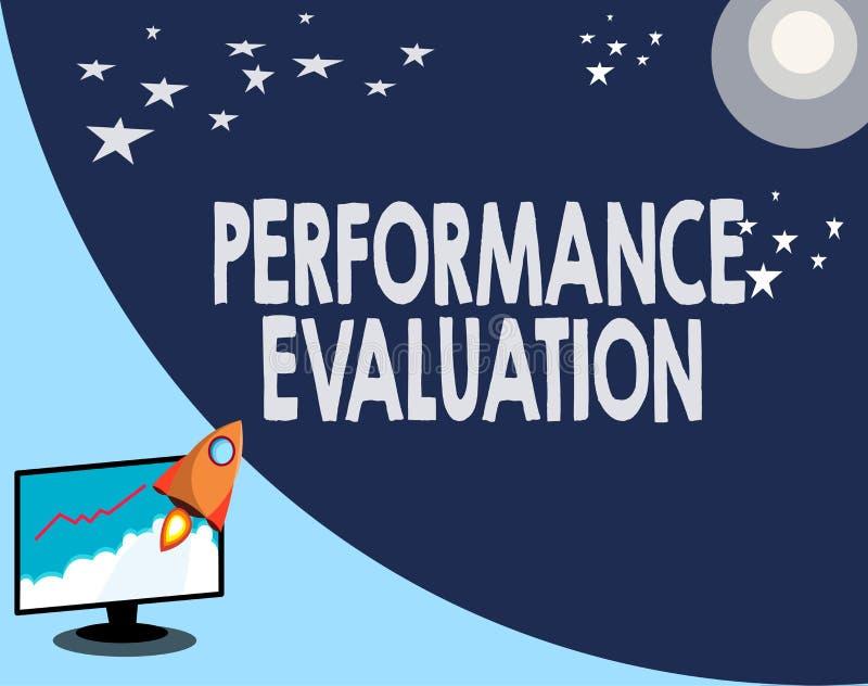 Nota da escrita que mostra a avaliação de desempenho Apresentar da foto do negócio avalia o macacão do desempenho do empregado ilustração royalty free