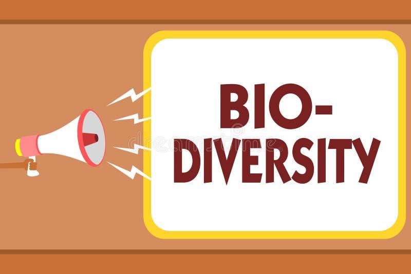 Nota da escrita que mostra a bio diversidade Variedade apresentando da foto do negócio de organismos Marine Fauna Ecosystem Habit ilustração royalty free