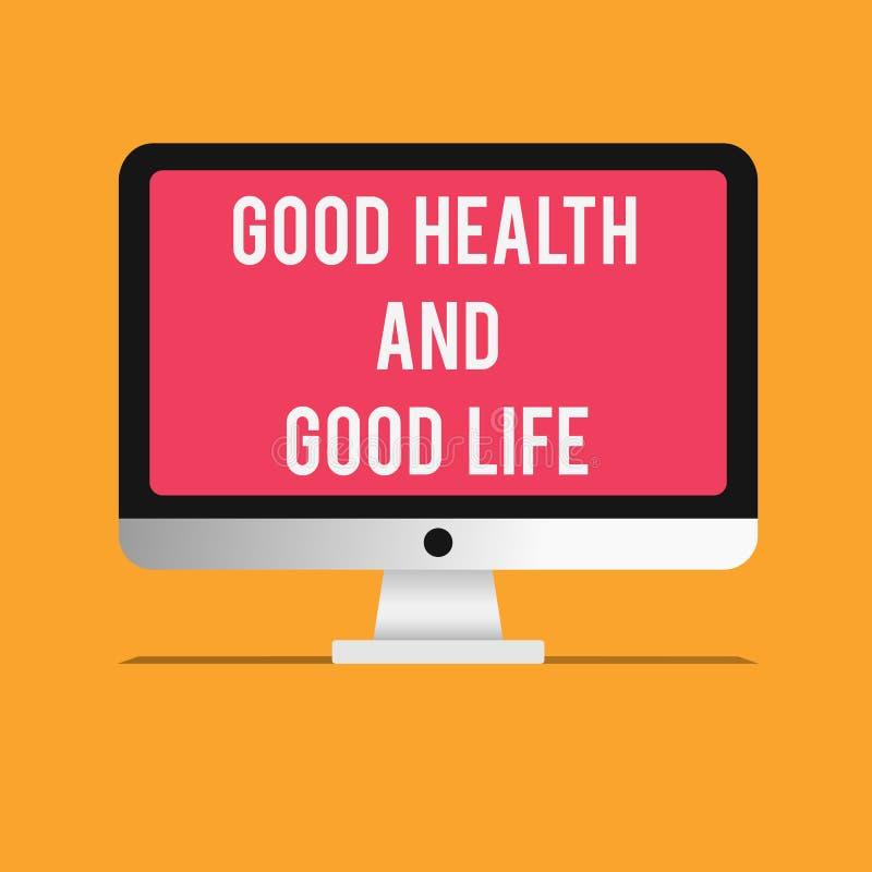 Nota da escrita que mostra a boa saúde e a boa vida A saúde apresentando da foto do negócio é um recurso para viver uma vida comp ilustração royalty free