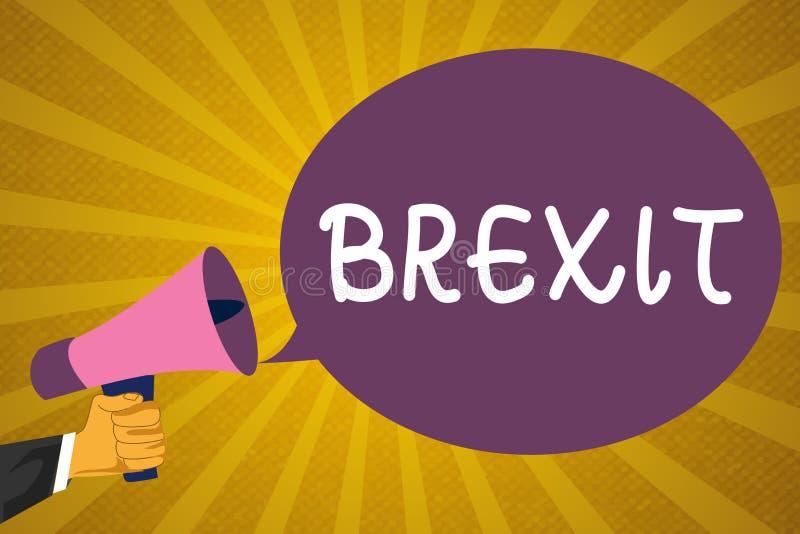 Nota da escrita que mostra Brexit Partida potencial apresentando do termo da foto do negócio de Reino Unido da União Europeia ilustração stock