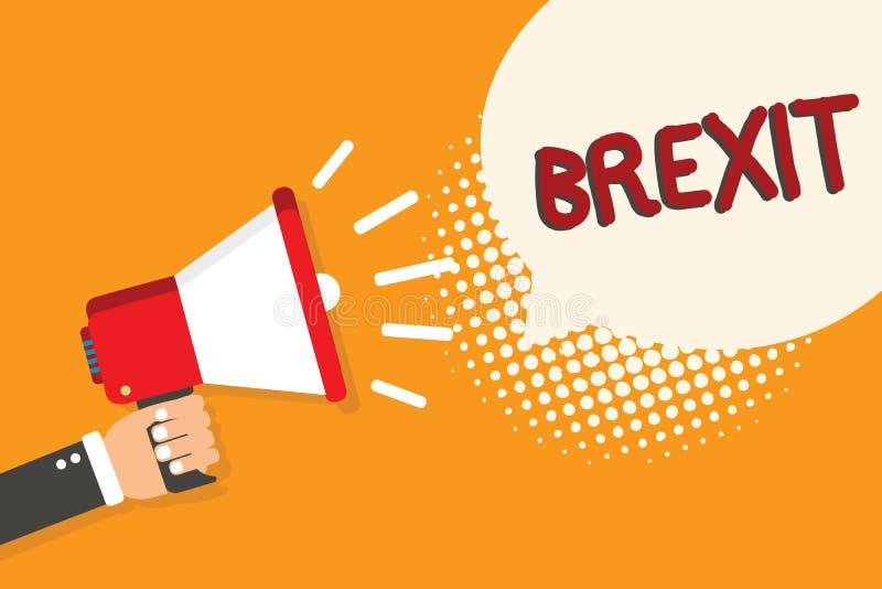 Nota da escrita que mostra Brexit Partida potencial apresentando do termo da foto do negócio de Reino Unido da União Europeia ilustração royalty free