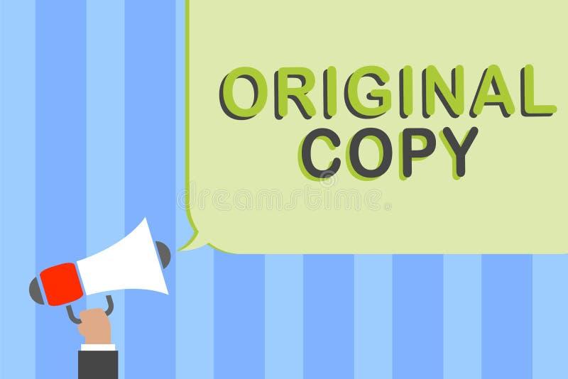Nota da escrita que mostra a cópia original Foto do negócio que apresenta homem patenteado marcado Unprinted da lista principal d ilustração do vetor