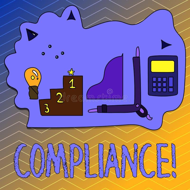 Nota da escrita que mostra a conformidade A foto do negócio que apresenta Tecnologia Empresa ajusta seus regulamentos padrão da p ilustração stock