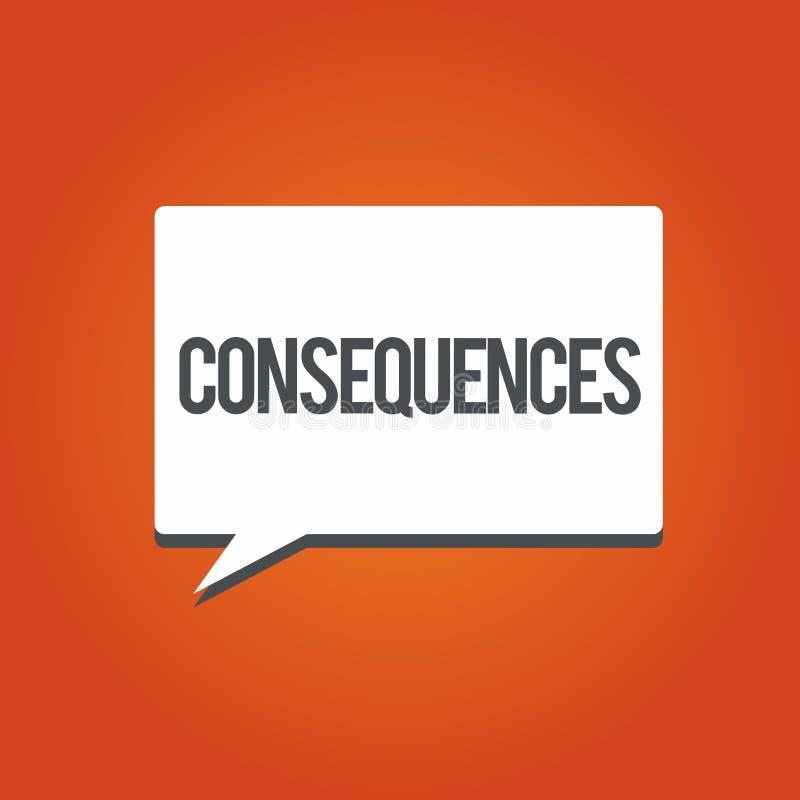 Nota da escrita que mostra consequências Resultado do efeito da foto do negócio ou resultado apresentando de algo ocorrência mais ilustração do vetor