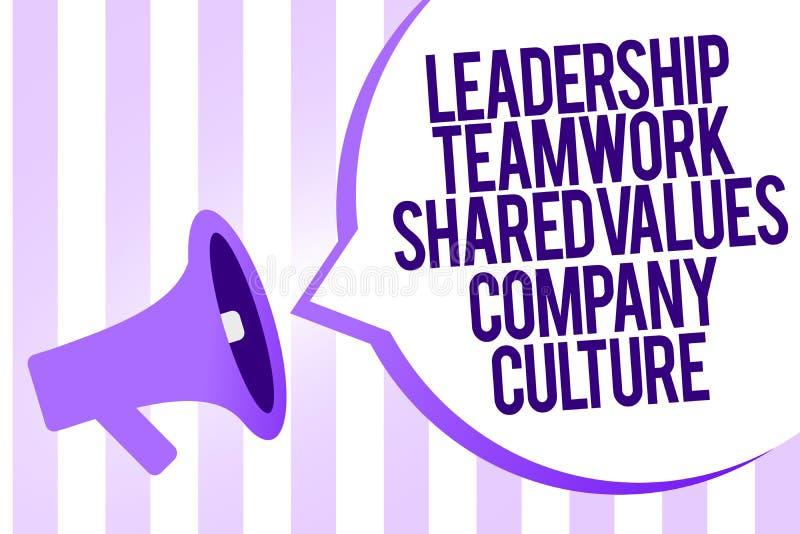 Nota da escrita que mostra a cultura de Liderança Trabalhos de equipa Shared Valores Empresa Grupo apresentando Team Success Mega foto de stock royalty free