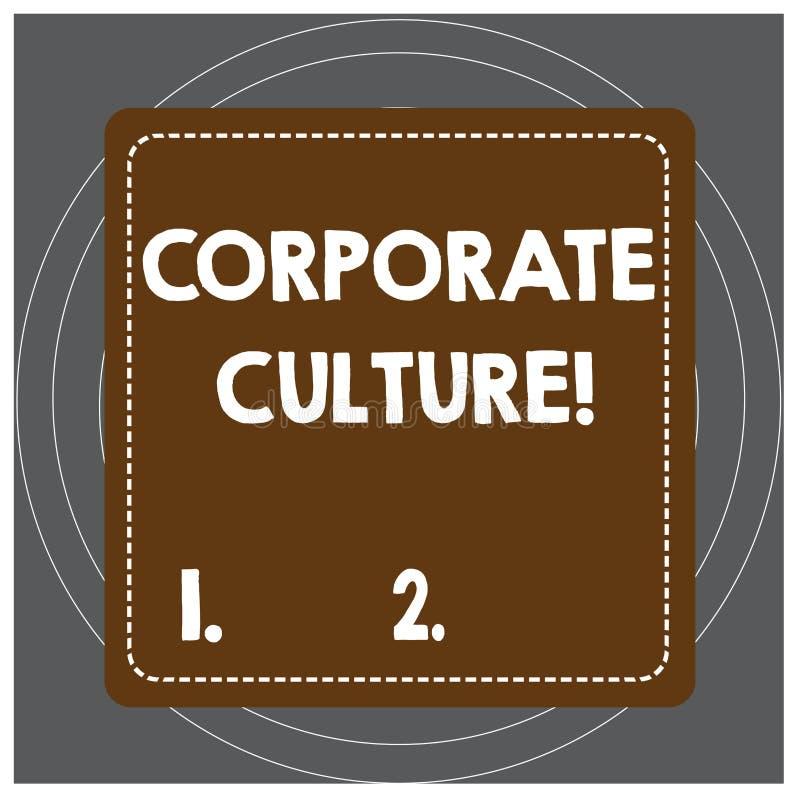 Nota da escrita que mostra a cultura empresarial Opini?es e atitudes apresentando da foto do neg?cio que caracterizam uma empresa ilustração royalty free
