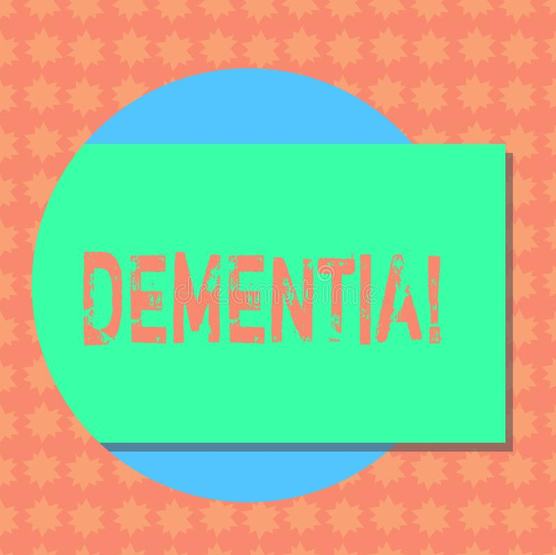Nota da escrita que mostra a demência A foto do negócio que apresentam o sinal da perda de memória a longo prazo e os sintomas fi ilustração royalty free