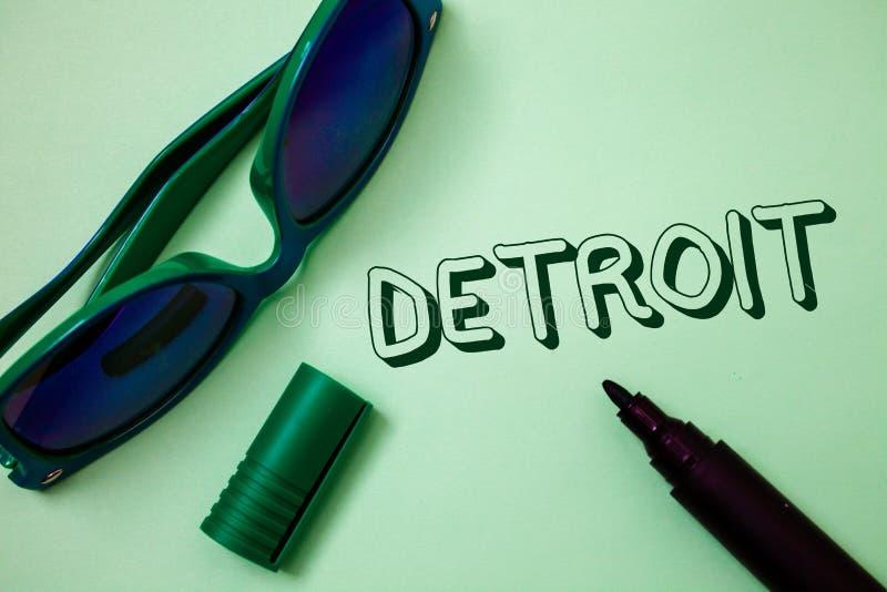 Nota da escrita que mostra Detroit Cidade apresentando da foto do negócio na capital do Estados Unidos da América de mes das idei imagens de stock royalty free