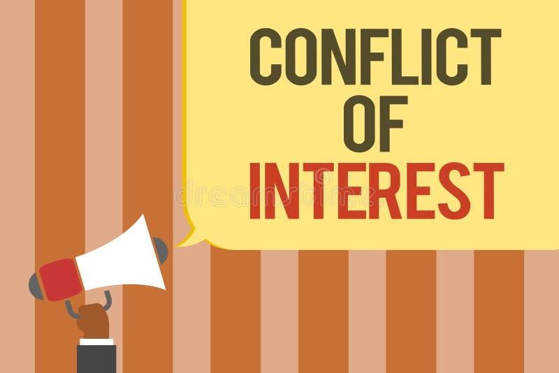 Nota da escrita que mostra a discordância apresentando da foto do negócio do conflito de interesses com o alguém sobre objetivos  ilustração royalty free