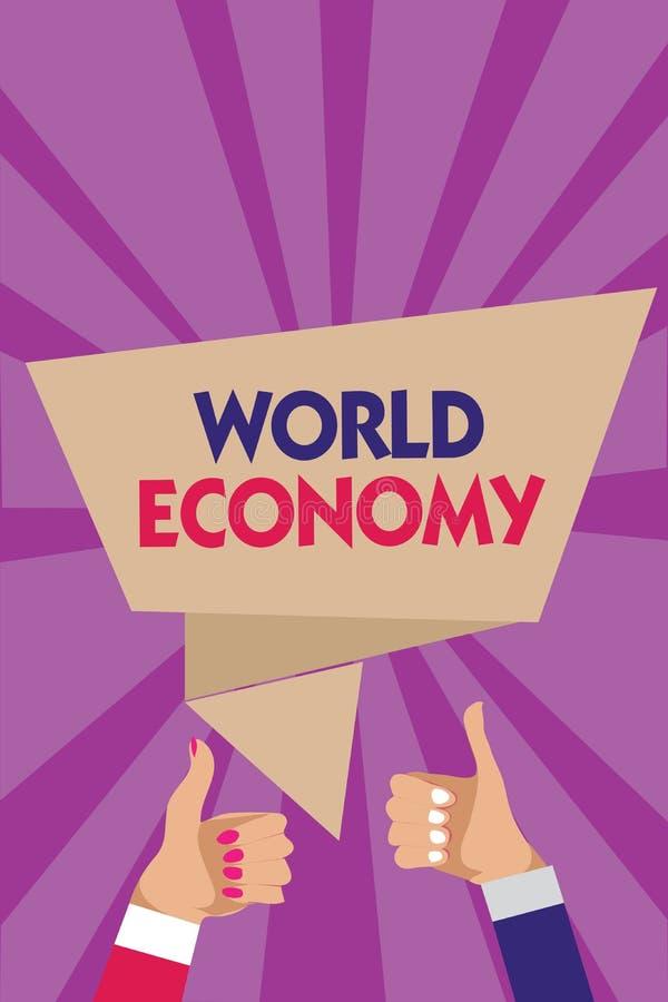 Nota da escrita que mostra a economia mundial A foto do negócio que apresenta mercados internacionais mundiais globais troca o wo imagem de stock