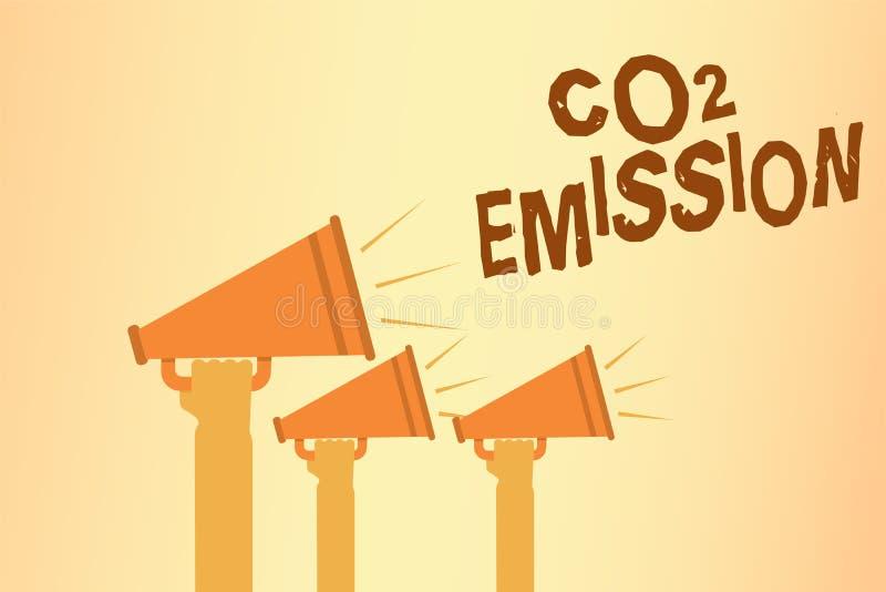Nota da escrita que mostra a emissão de CO2 A liberação apresentando da foto do negócio dos gáses de estufa na atmosfera entrega  ilustração royalty free