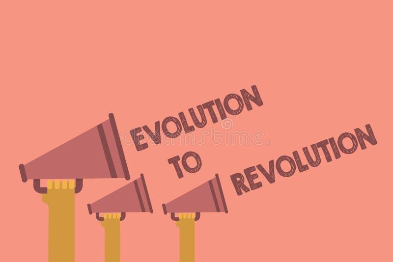Nota da escrita que mostra a evolução à revolução Adaptação apresentando da foto do negócio à maneira de vida para criaturas e mã ilustração do vetor