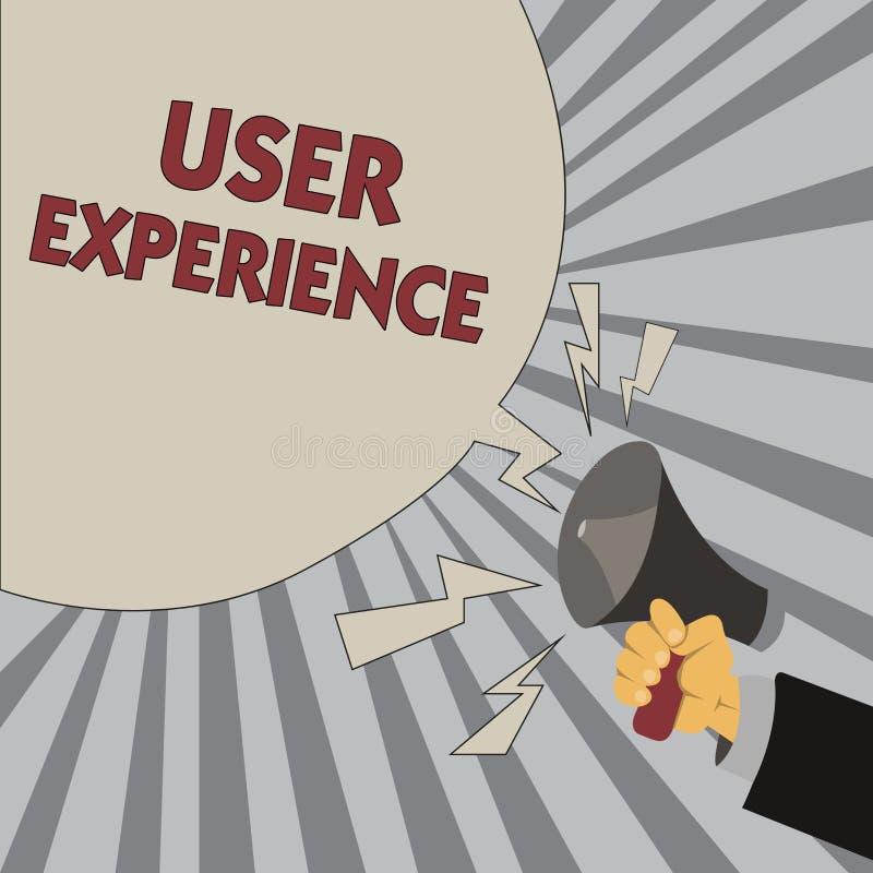 Nota da escrita que mostra a experiência do usuário Foto do negócio que apresenta usando o Web site especialmente nos termos a co ilustração royalty free
