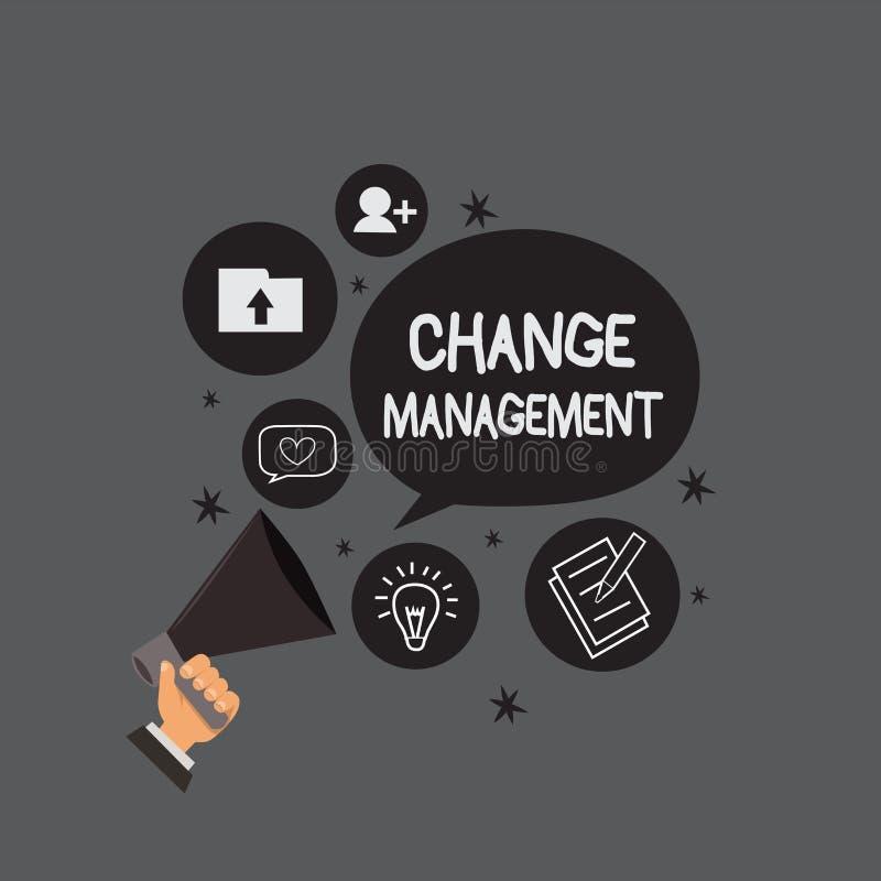 Nota da escrita que mostra a gestão de mudanças Substituição apresentando da foto do negócio da liderança em políticas novas de u ilustração royalty free