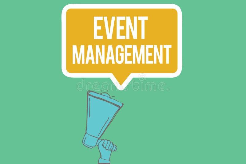 Nota da escrita que mostra a gestão do evento Criação da foto do negócio e desenvolvimento apresentando de festivais das ações da ilustração stock