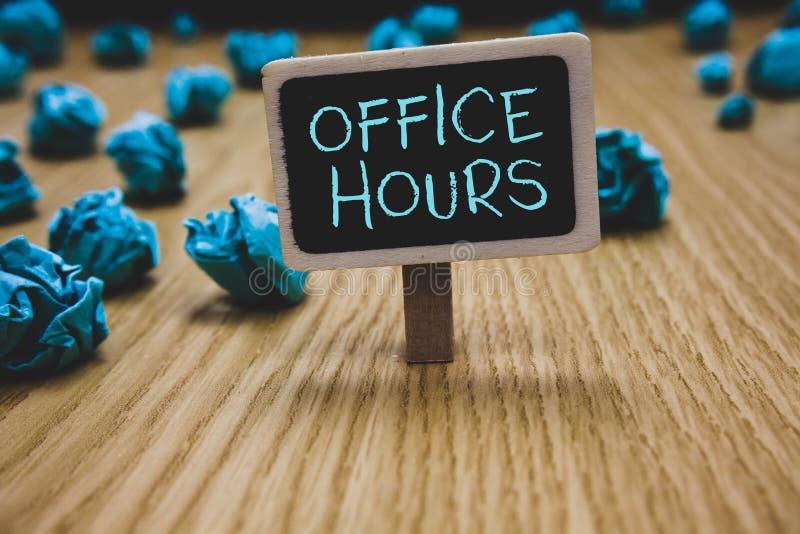 Nota da escrita que mostra horas de escritório Foto do negócio que apresenta as horas que o negócio é conduzido normalmente tempo fotografia de stock royalty free