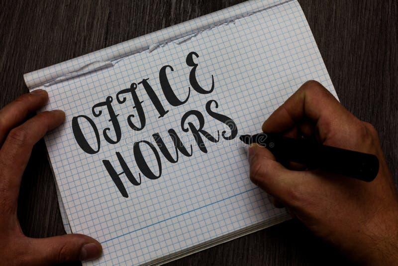 Nota da escrita que mostra horas de escritório Foto do negócio que apresenta as horas que o negócio é normalmente mão conduzida d imagens de stock royalty free