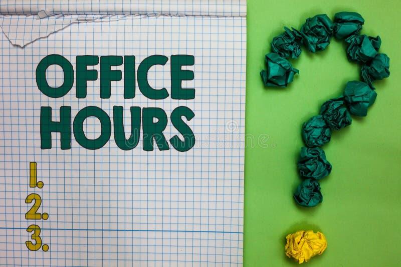 Nota da escrita que mostra horas de escritório Foto do negócio que apresenta as horas que o negócio é normalmente quadrado conduz foto de stock royalty free