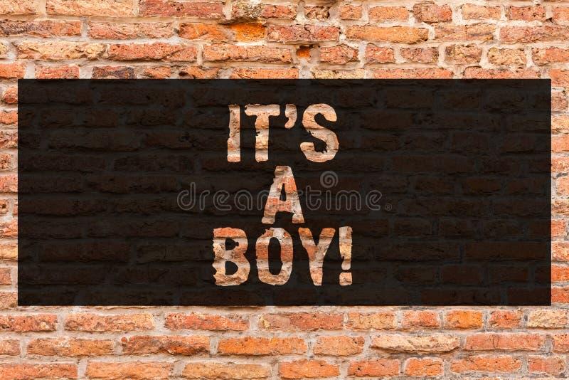 Nota da escrita que mostra lhe o menino de S A A foto do negócio que apresenta esperando um azul bonito do bebê masculino colore  fotografia de stock