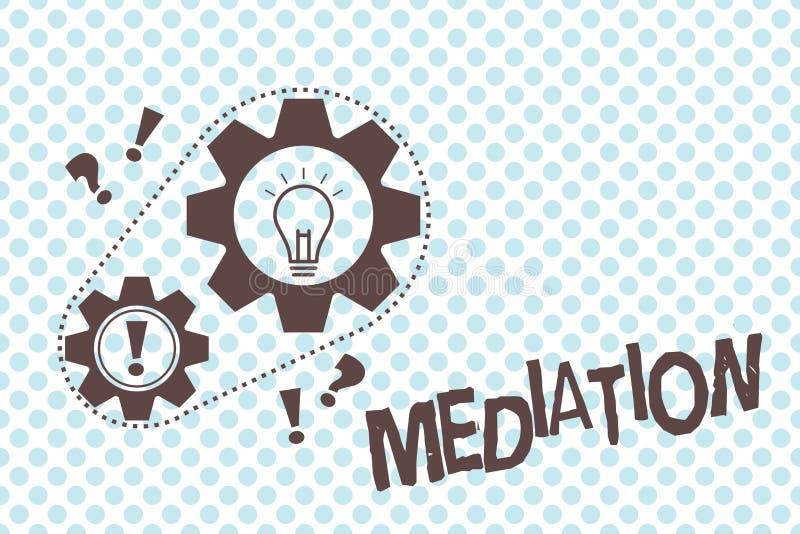 Nota da escrita que mostra a mediação Disputa apresentando da intervenção da foto do negócio a fim resolvê-la arbítrio ilustração do vetor