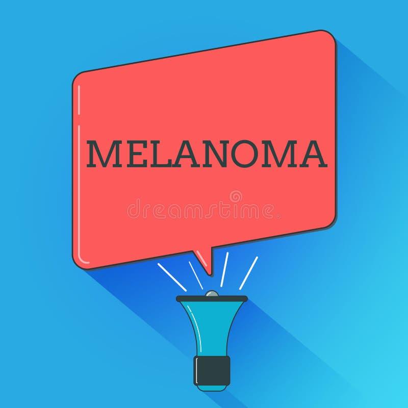 Nota da escrita que mostra a melanoma A foto do negócio que apresenta o tumor maligno de A associou com as toupeiras benignas do  ilustração do vetor